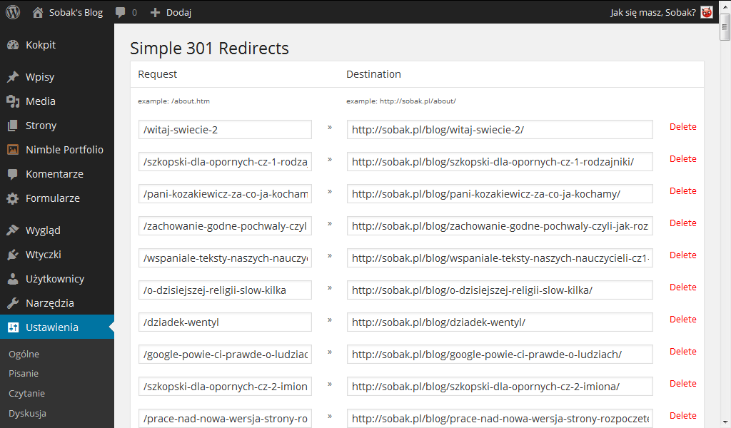 Wtyczka Simple 301 Redirects