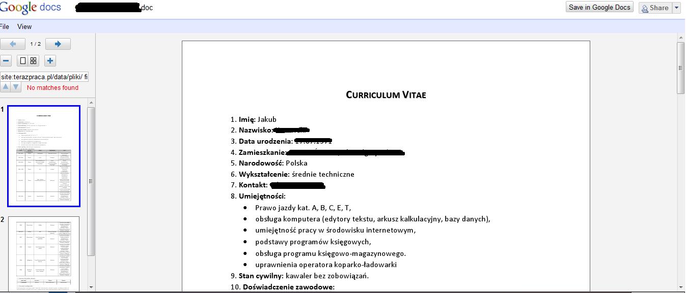 Google hacking terazpraca.pl