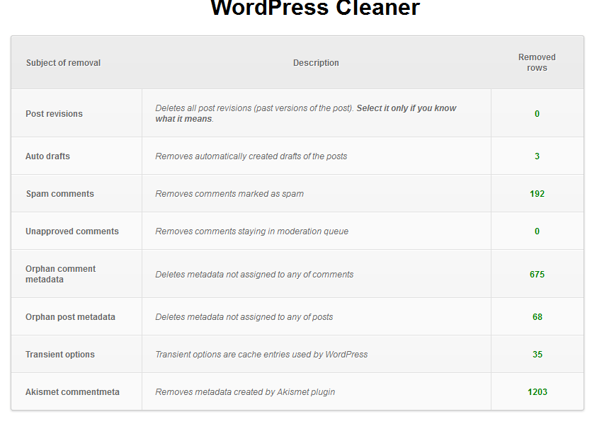 WordPress cleaner